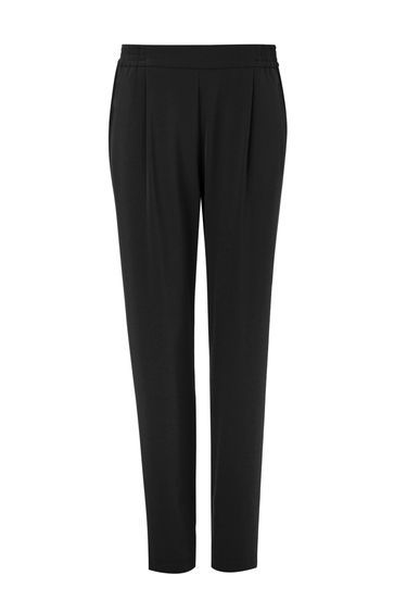 Black Pull On Trouser - length: standard; pattern: plain; style: peg leg; waist: mid/regular rise; predominant colour: black; occasions: casual, creative work; fibres: polyester/polyamide - stretch; hip detail: front pleats at hip level; texture group: crepes; fit: tapered; pattern type: fabric; wardrobe: basic; season: a/w 2016