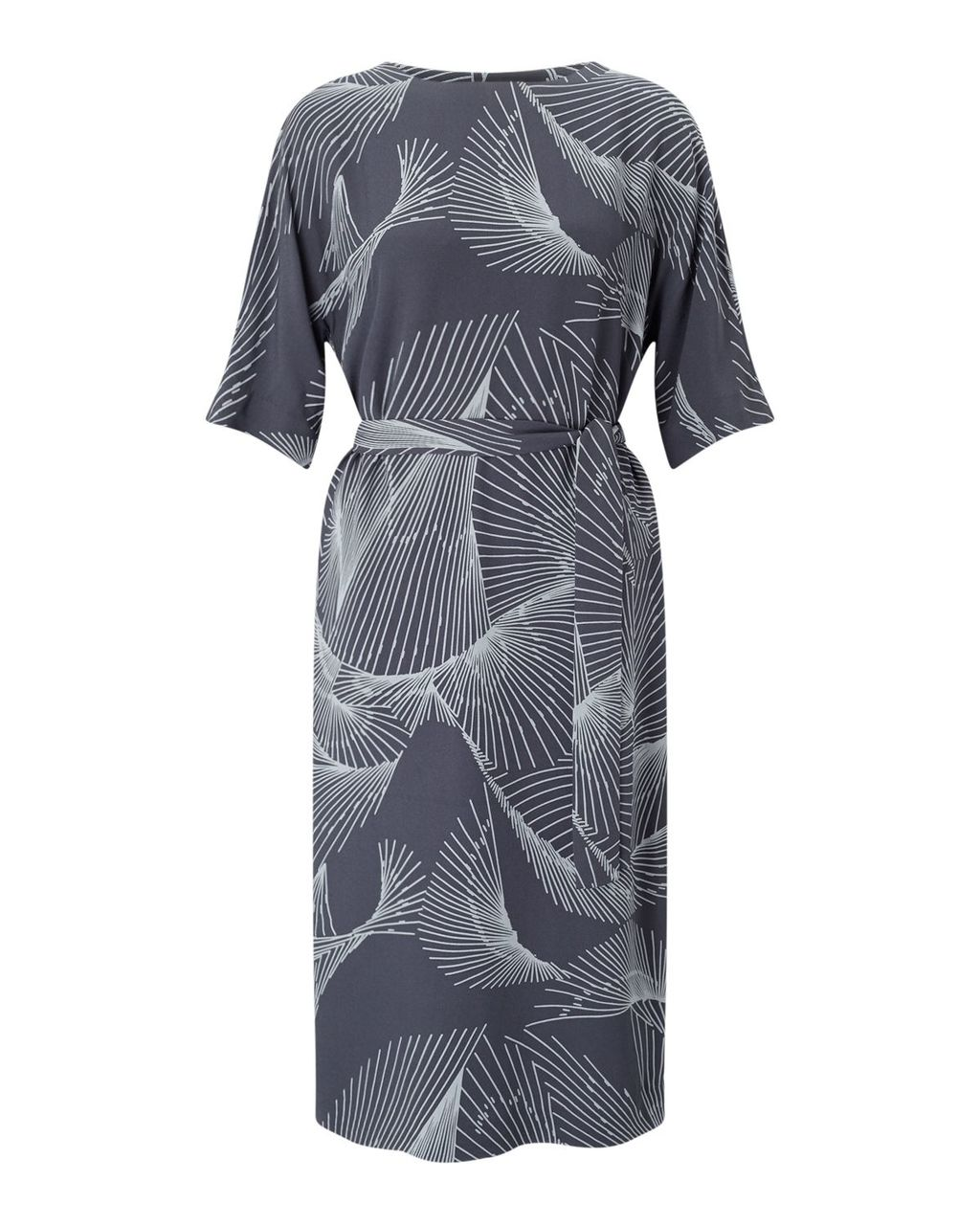 Broken Glass Crepe Dress, Grey - style: shift; waist detail: belted waist/tie at waist/drawstring; predominant colour: charcoal; secondary colour: light grey; occasions: evening; length: on the knee; fit: body skimming; fibres: viscose/rayon - 100%; neckline: crew; sleeve length: short sleeve; sleeve style: standard; texture group: crepes; pattern type: fabric; pattern: patterned/print; multicoloured: multicoloured; season: a/w 2016; wardrobe: event