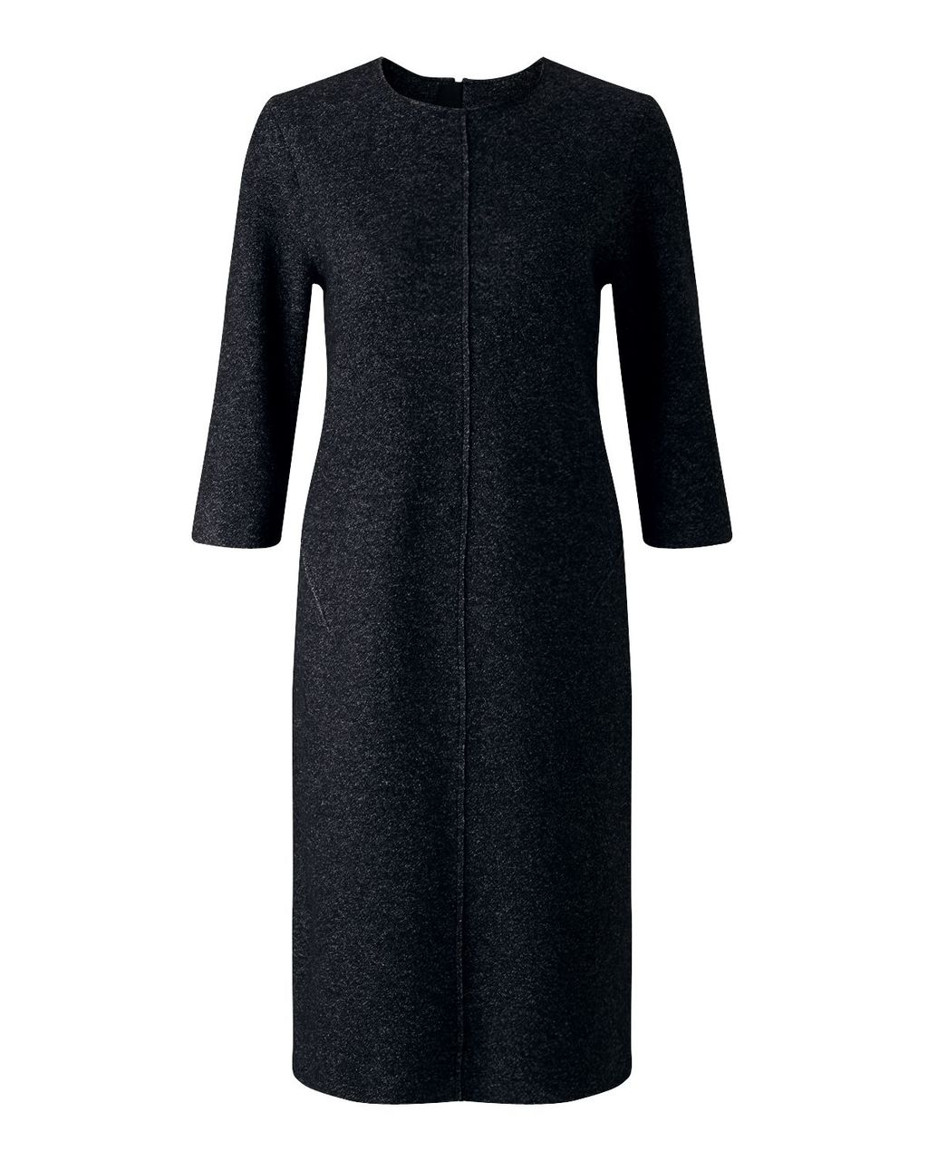 Speckled Wool Knitted Dress, Charcoal - style: shift; pattern: plain; predominant colour: black; occasions: evening; length: on the knee; fit: body skimming; fibres: wool - 100%; neckline: crew; sleeve length: 3/4 length; sleeve style: standard; texture group: knits/crochet; pattern type: fabric; season: a/w 2016