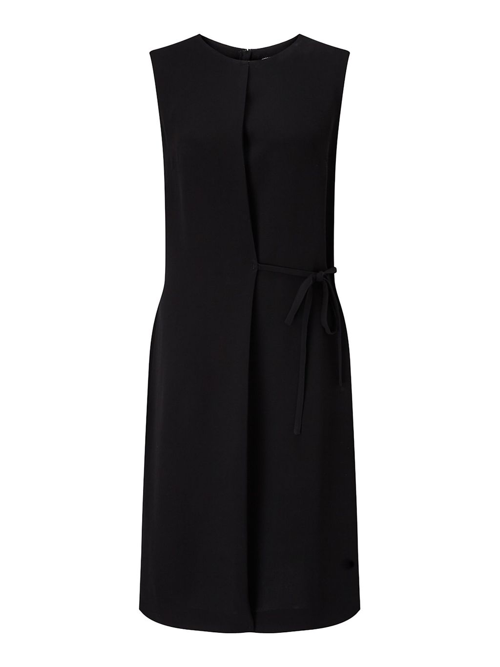 Tie Waist Dress, Black - style: shift; pattern: plain; sleeve style: sleeveless; predominant colour: black; occasions: evening; length: on the knee; fit: body skimming; fibres: viscose/rayon - 100%; neckline: crew; sleeve length: sleeveless; pattern type: fabric; texture group: jersey - stretchy/drapey; season: a/w 2016; wardrobe: event
