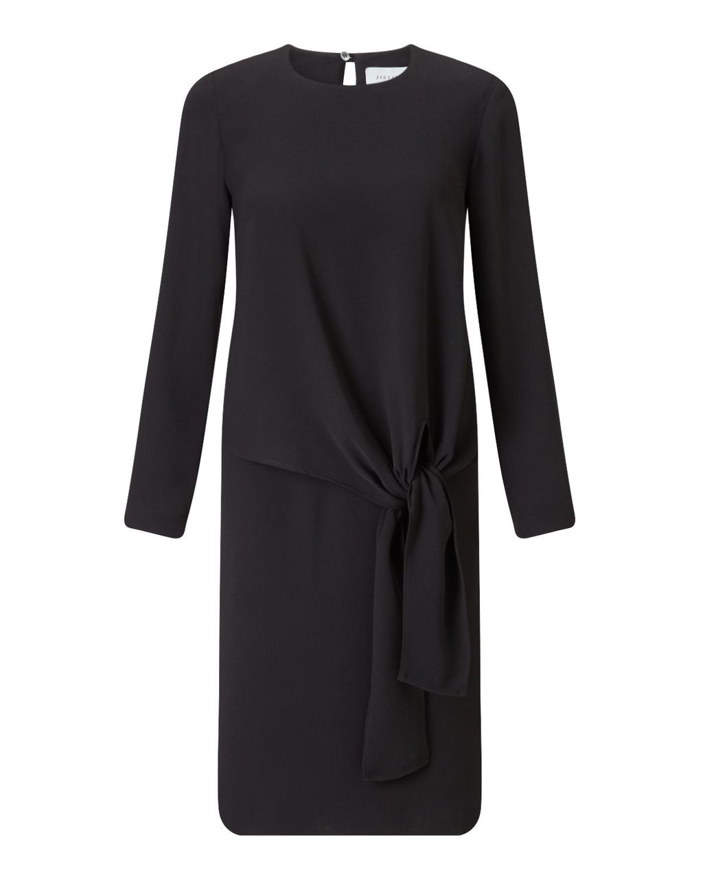 Crepe Tie Front Dress, Black - style: shift; length: below the knee; neckline: round neck; pattern: plain; predominant colour: black; occasions: work, occasion; fit: body skimming; fibres: polyester/polyamide - 100%; sleeve length: long sleeve; sleeve style: standard; texture group: crepes; pattern type: fabric; wardrobe: investment; season: a/w 2016