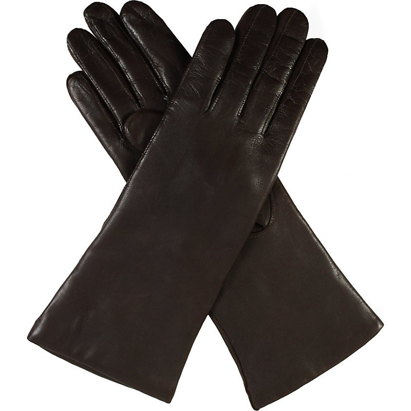 Helene Cashmere Lined Leather Gloves, Women's, Size: 6.5, Mocca - predominant colour: black; occasions: casual, creative work; type of pattern: standard; style: standard; length: wrist; material: leather; pattern: plain; wardrobe: basic; season: a/w 2016