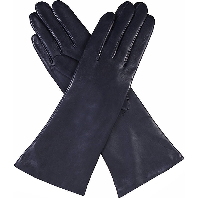 Helene Cashmere Lined Leather Gloves, Women's, Blue - predominant colour: navy; occasions: casual, creative work; type of pattern: standard; style: standard; length: wrist; material: leather; pattern: plain; wardrobe: basic; season: a/w 2016