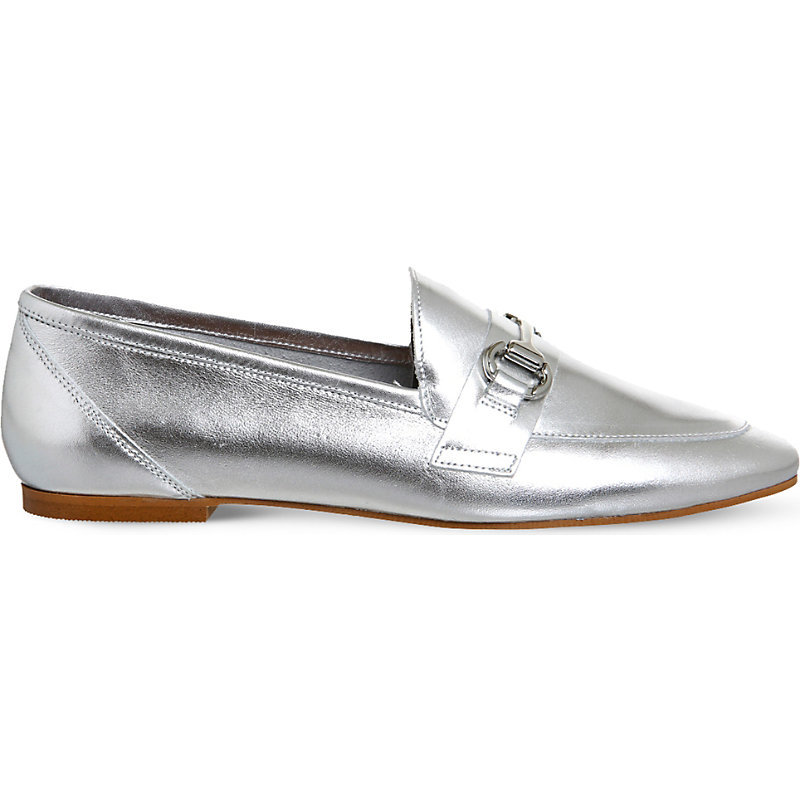 Destiny Metallic Leather Loafers, Women's, Silver Leather - predominant colour: silver; occasions: casual; material: leather; heel height: flat; toe: round toe; style: loafers; finish: metallic; pattern: plain; wardrobe: basic; season: a/w 2016
