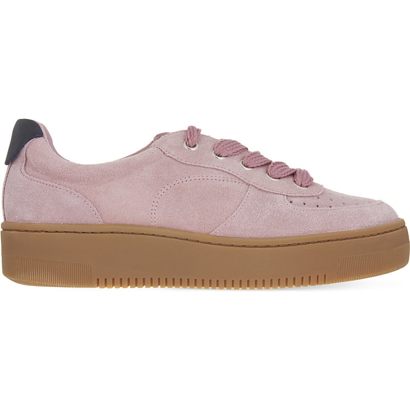 Camille Suede Flatform Trainers, Women's, Eur 39 / 6 Uk Women, Pink/Red/Lightpink - predominant colour: blush; secondary colour: tan; occasions: casual, creative work; material: suede; heel height: flat; toe: round toe; style: trainers; finish: plain; pattern: colourblock; season: a/w 2016; wardrobe: highlight