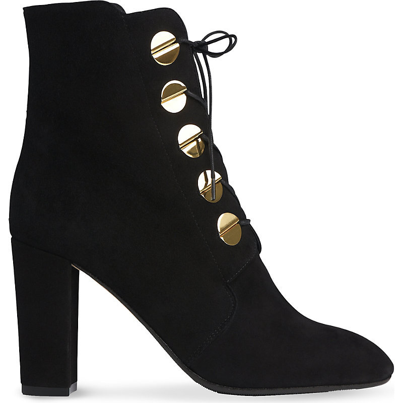 Yolanda Suede Heeled Ankle Boots, Women's, Eur 38 / 5 Uk Women, Bla Black - predominant colour: black; occasions: casual, creative work; material: suede; heel height: high; heel: block; toe: round toe; boot length: ankle boot; finish: plain; pattern: plain; embellishment: chain/metal; style: lace ups; season: a/w 2016; trends: military
