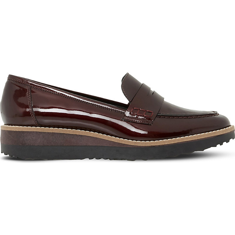 Graphic Flatform Loafers, Women's, Eur 36 / 3 Uk Women, Burgundy Patent - predominant colour: chocolate brown; occasions: casual, creative work; material: leather; heel height: flat; toe: pointed toe; style: loafers; finish: patent; pattern: plain; season: a/w 2016