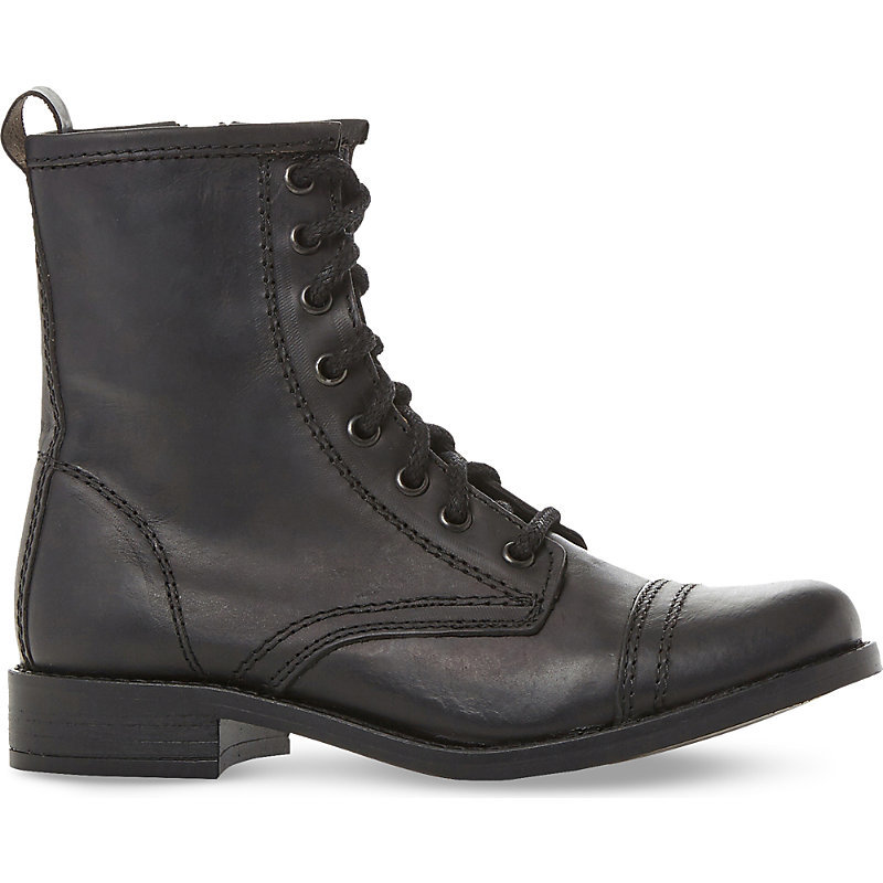 Leather Biker Boots, Women's, Eur 41 / 8 Uk Women, Black Leather - predominant colour: black; occasions: casual, creative work; material: leather; heel height: mid; heel: block; toe: round toe; boot length: ankle boot; style: biker boot; finish: plain; pattern: plain; wardrobe: basic; season: a/w 2016