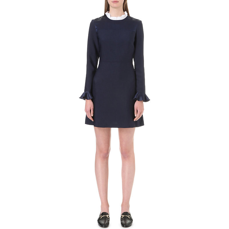 Stage Ruffled Collar Crepe Dress, Women's, Size: Large, Dark Blue/Gold - style: shift; length: mid thigh; pattern: plain; predominant colour: navy; occasions: evening, creative work; fit: body skimming; fibres: polyester/polyamide - 100%; neckline: crew; sleeve length: long sleeve; sleeve style: standard; pattern type: fabric; pattern size: standard; texture group: other - light to midweight; season: a/w 2016