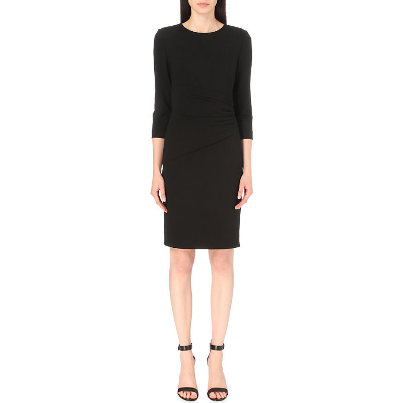 Glennie Fitted Stretch Jersey Dress, Women's, Black - style: shift; neckline: round neck; pattern: plain; predominant colour: black; occasions: work; length: on the knee; fit: body skimming; sleeve length: 3/4 length; sleeve style: standard; pattern type: fabric; texture group: jersey - stretchy/drapey; fibres: viscose/rayon - mix; wardrobe: investment; season: a/w 2016