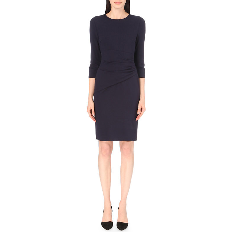 Glennie Fitted Stretch Jersey Dress, Women's, Royal Navy - style: shift; pattern: plain; predominant colour: navy; occasions: evening, work; length: on the knee; fit: body skimming; fibres: viscose/rayon - stretch; neckline: crew; sleeve length: 3/4 length; sleeve style: standard; pattern type: fabric; texture group: jersey - stretchy/drapey; wardrobe: investment; season: a/w 2016