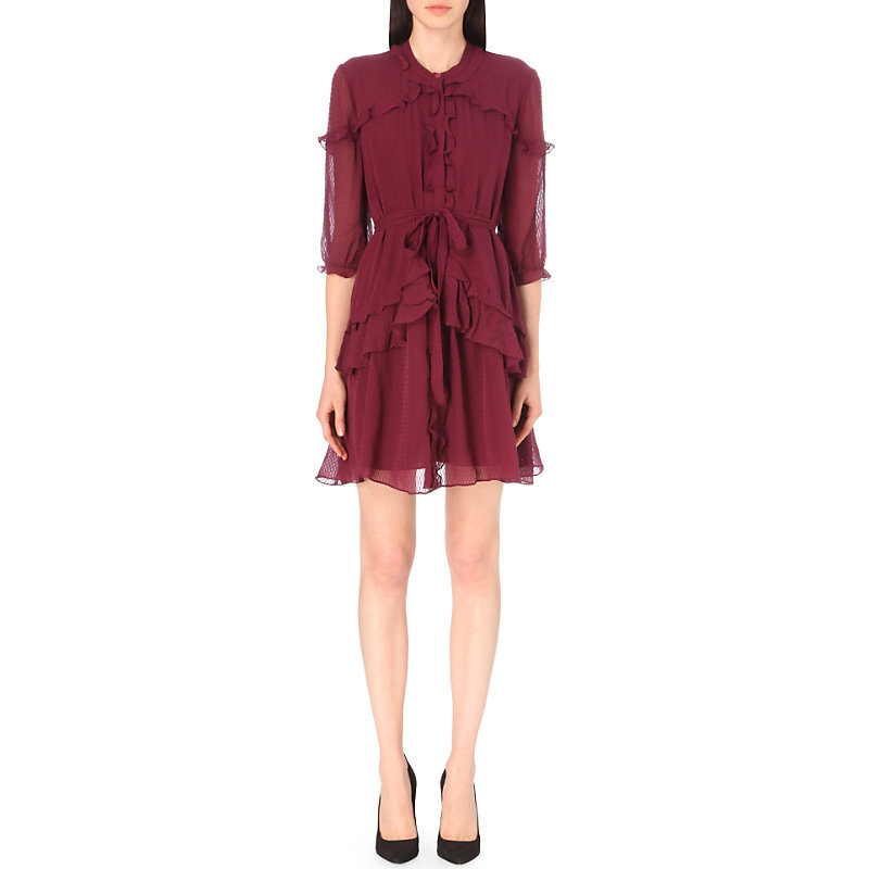 Tilly Ruffled Silk Dress, Women's, Mahroon - pattern: plain; style: full skirt; predominant colour: burgundy; occasions: evening; length: just above the knee; fit: fitted at waist & bust; fibres: silk - 100%; neckline: crew; hip detail: adds bulk at the hips; sleeve length: half sleeve; sleeve style: standard; texture group: silky - light; pattern type: fabric; season: a/w 2016; wardrobe: event