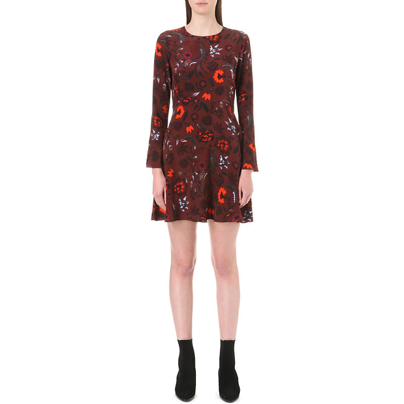 Sofia Floral Print Silk Dress, Women's, Size: Small, Red - length: mid thigh; predominant colour: burgundy; secondary colour: black; occasions: evening; fit: fitted at waist & bust; style: fit & flare; fibres: silk - 100%; neckline: crew; sleeve length: long sleeve; sleeve style: standard; texture group: silky - light; pattern type: fabric; pattern: florals; multicoloured: multicoloured; season: a/w 2016