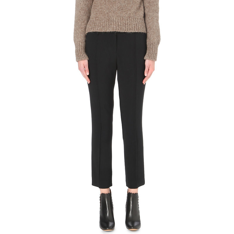 Moustique Tapered Crepe Trousers, Women's, Noir - length: standard; pattern: plain; style: peg leg; waist: mid/regular rise; predominant colour: black; occasions: work; texture group: crepes; fit: tapered; pattern type: fabric; fibres: viscose/rayon - mix; wardrobe: basic; season: a/w 2016