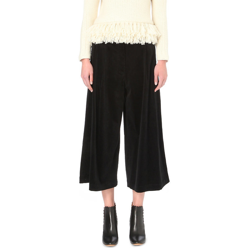 Easton Wide Leg Corduroy Culottes, Women's, Noir - pattern: plain; waist: mid/regular rise; predominant colour: black; occasions: casual, work; fibres: cotton - stretch; texture group: corduroy; pattern type: fabric; wardrobe: basic; style: culotte; length: below the knee; fit: baggy; season: a/w 2016