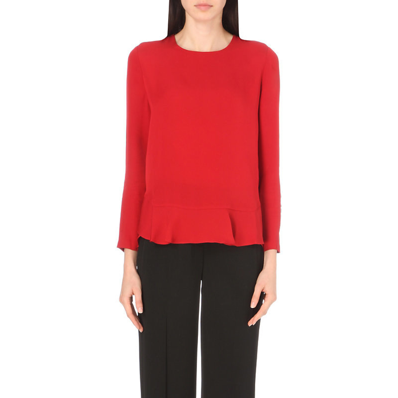 Galia Silk Ruffled Hem Top, Women's, Rubiate - pattern: plain; style: blouse; predominant colour: true red; occasions: casual, creative work; length: standard; fibres: silk - 100%; fit: straight cut; neckline: crew; sleeve length: long sleeve; sleeve style: standard; texture group: crepes; pattern type: fabric; season: a/w 2016; wardrobe: highlight