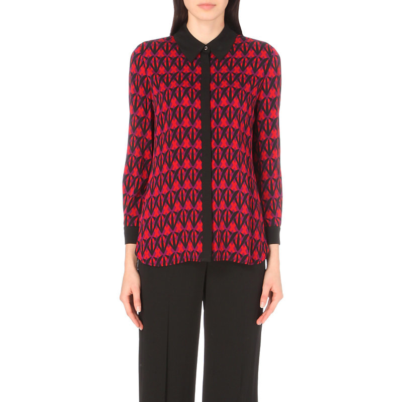Ilyssa Stretch Silk Top, Women's, D Shadow Rubiate/Black - neckline: shirt collar/peter pan/zip with opening; style: shirt; predominant colour: true red; secondary colour: black; occasions: casual, creative work; length: standard; fibres: silk - 100%; fit: straight cut; sleeve length: long sleeve; sleeve style: standard; pattern type: fabric; pattern: patterned/print; texture group: woven light midweight; multicoloured: multicoloured; season: a/w 2016