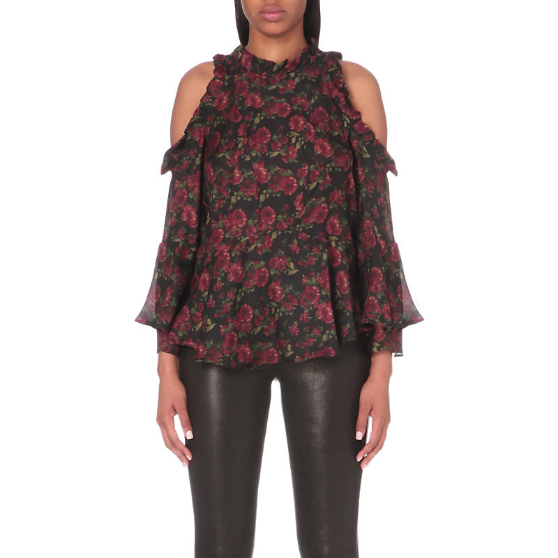 Eloane Cold Shoulder Silk Blouse, Women's, Multico Khaki - length: below the bottom; style: blouse; predominant colour: black; occasions: evening, creative work; fibres: silk - 100%; fit: loose; neckline: crew; shoulder detail: cut out shoulder; sleeve length: long sleeve; sleeve style: standard; texture group: silky - light; pattern type: fabric; pattern: florals; pattern size: big & busy (top); multicoloured: multicoloured; season: a/w 2016; wardrobe: highlight