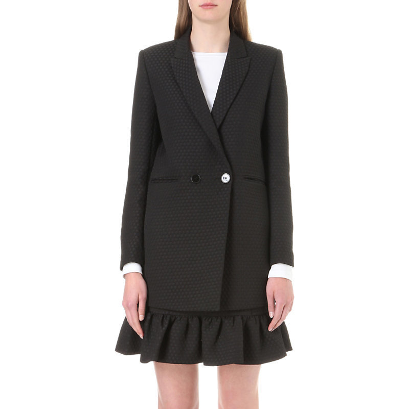 Dandy Jacquard Jacket, Women's, Noir - pattern: plain; style: single breasted blazer; length: below the bottom; collar: standard lapel/rever collar; predominant colour: black; occasions: work; fit: tailored/fitted; sleeve length: long sleeve; sleeve style: standard; collar break: medium; pattern type: fabric; texture group: woven light midweight; fibres: viscose/rayon - mix; wardrobe: investment; season: a/w 2016