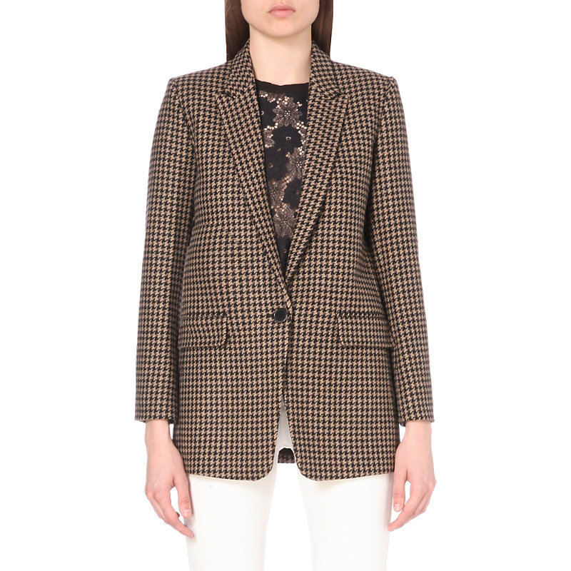 Lodger Houndstooth Wool Blend Jacket, Women's, Multicolore - style: single breasted blazer; length: below the bottom; collar: standard lapel/rever collar; predominant colour: chocolate brown; occasions: work, creative work; fit: tailored/fitted; fibres: wool - mix; pattern: dogtooth; sleeve length: long sleeve; sleeve style: standard; collar break: medium; pattern type: fabric; texture group: woven light midweight; pattern size: big & busy (top); wardrobe: investment; season: a/w 2016