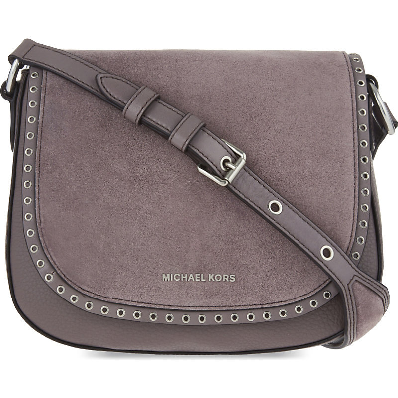 Brooklyn Suede Saddle Bag, Women's, Cinder - predominant colour: mid grey; occasions: casual, creative work; type of pattern: standard; style: satchel; length: across body/long; size: standard; material: leather; pattern: plain; finish: plain; wardrobe: basic; season: a/w 2016