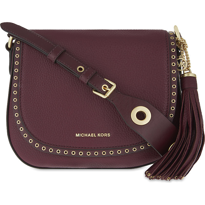 Brooklyn Leather Saddle Bag, Women's, Purple - predominant colour: aubergine; secondary colour: gold; occasions: casual, creative work; type of pattern: standard; style: saddle; length: across body/long; size: small; material: leather; pattern: plain; finish: plain; season: a/w 2016; wardrobe: highlight