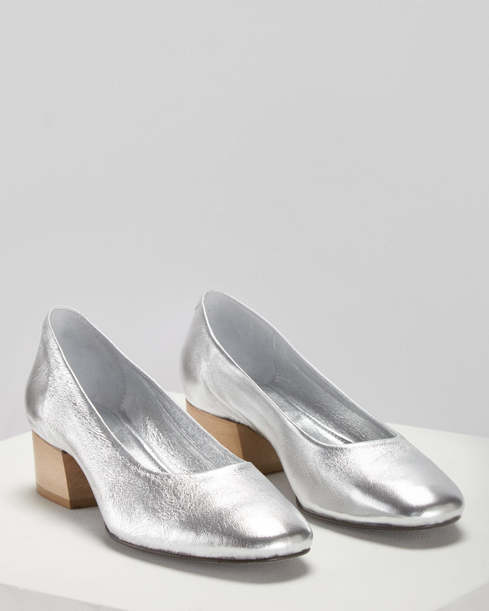 Mila Court Shoe - predominant colour: silver; occasions: evening, occasion, creative work; material: leather; heel height: mid; heel: block; toe: square toe; style: courts; finish: metallic; pattern: plain; season: a/w 2016; wardrobe: highlight