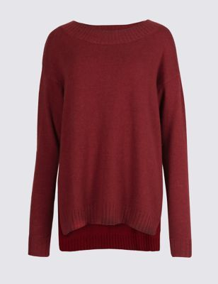 Round Neck Jumper - pattern: plain; style: standard; predominant colour: burgundy; occasions: casual; length: standard; fibres: polyester/polyamide - mix; fit: slim fit; neckline: crew; sleeve length: long sleeve; sleeve style: standard; texture group: knits/crochet; pattern type: knitted - other; season: a/w 2016