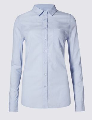 Pure Cotton Long Sleeve Shirt - neckline: shirt collar/peter pan/zip with opening; pattern: plain; style: shirt; predominant colour: pale blue; occasions: work; length: standard; fibres: cotton - 100%; fit: body skimming; sleeve length: long sleeve; sleeve style: standard; texture group: cotton feel fabrics; pattern type: fabric; season: a/w 2016; wardrobe: highlight