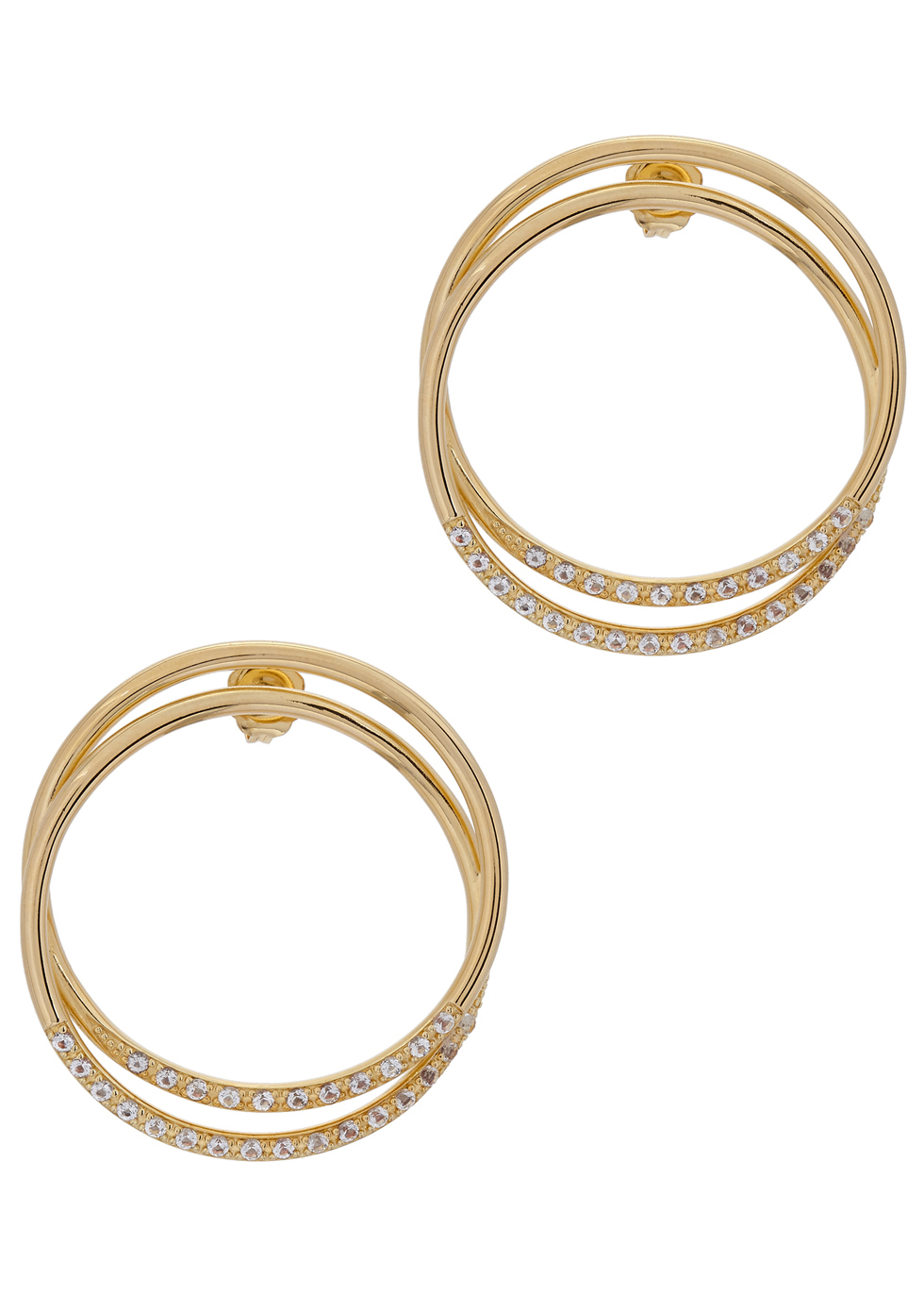 Elson 23kt Gold Plated Hoop Earrings - predominant colour: gold; occasions: evening, occasion; style: hoop; length: mid; size: large/oversized; material: chain/metal; fastening: pierced; finish: metallic; season: a/w 2016; wardrobe: event