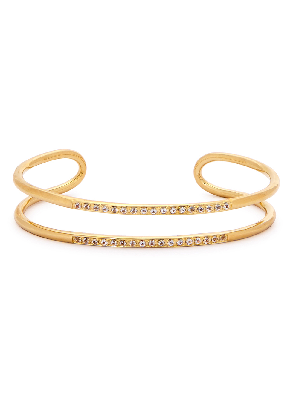 Selena 23kt Gold Plated Cuff - predominant colour: gold; occasions: evening, occasion; style: cuff; size: standard; finish: metallic; material: suede; season: a/w 2016; wardrobe: event