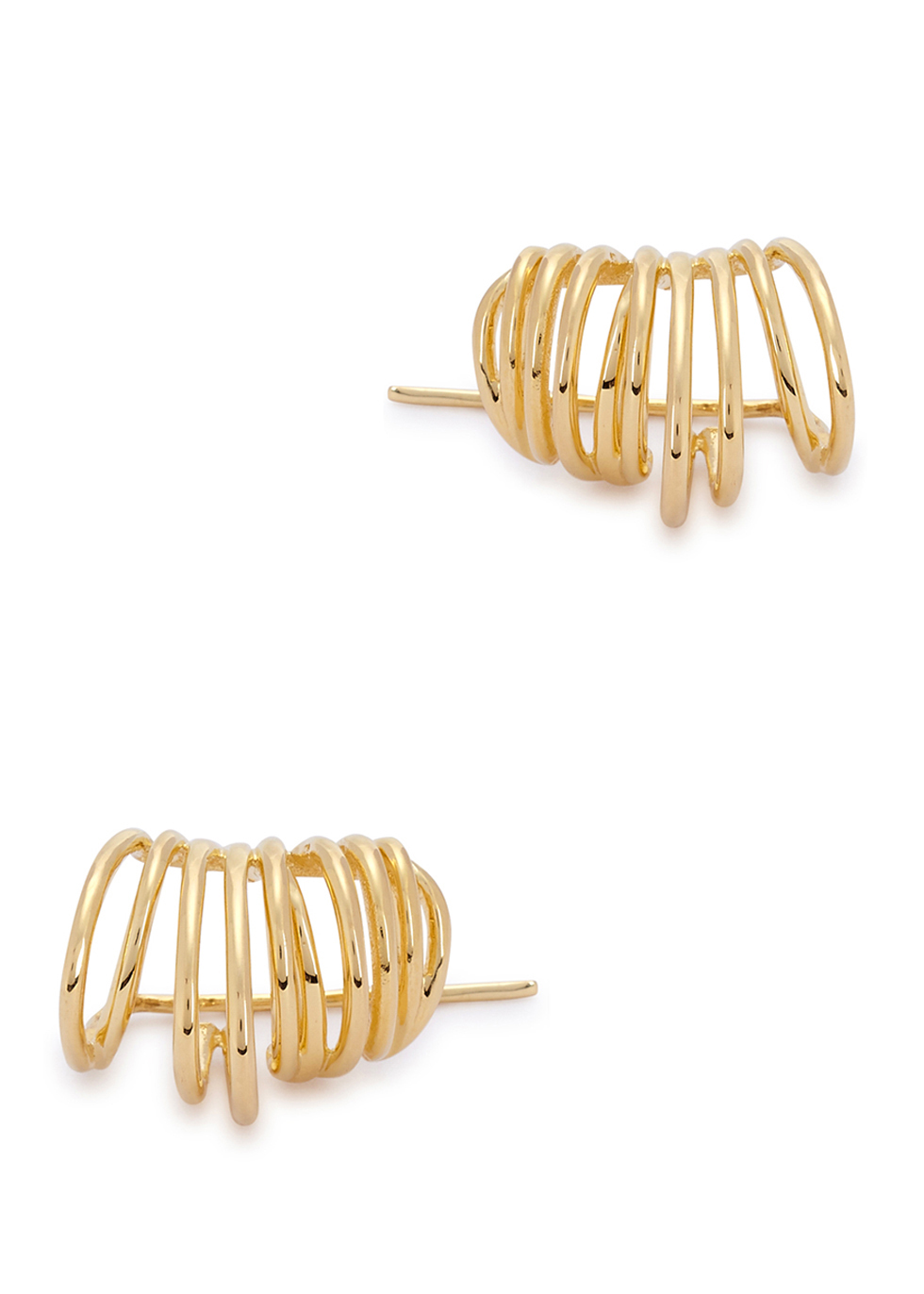 Roxy 23kt Gold Plated Earrings - predominant colour: gold; occasions: evening, occasion; style: hoop; length: mid; size: standard; material: chain/metal; fastening: pierced; finish: metallic; season: a/w 2016; wardrobe: event