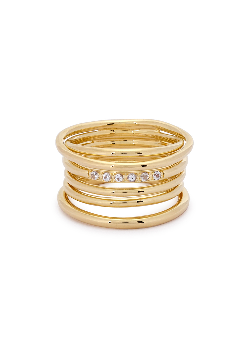 Roxy 23kt Gold Plated Ring - predominant colour: gold; occasions: evening, occasion; style: band; size: large/oversized; material: chain/metal; finish: metallic; embellishment: crystals/glass; season: a/w 2016; wardrobe: event