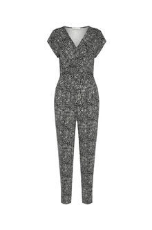Monochrome Jumpsuit - length: standard; neckline: v-neck; secondary colour: white; predominant colour: black; occasions: evening; fit: body skimming; fibres: viscose/rayon - stretch; sleeve length: short sleeve; sleeve style: standard; style: jumpsuit; pattern type: fabric; pattern: patterned/print; texture group: jersey - stretchy/drapey; multicoloured: multicoloured; season: a/w 2016; wardrobe: event