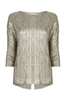 Pleated Foil Slouch Top - neckline: round neck; pattern: plain; predominant colour: gold; occasions: casual, creative work; length: standard; style: top; fibres: polyester/polyamide - stretch; fit: body skimming; back detail: longer hem at back than at front; sleeve length: 3/4 length; sleeve style: standard; pattern type: fabric; texture group: other - light to midweight; season: a/w 2016; wardrobe: highlight; trends: metallics