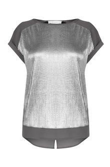 Crinkle Roll Sleeve Tee - neckline: round neck; sleeve style: capped; pattern: plain; style: t-shirt; predominant colour: silver; occasions: casual; length: standard; fibres: polyester/polyamide - 100%; fit: loose; sleeve length: short sleeve; texture group: jersey - clingy; pattern type: fabric; season: a/w 2016; wardrobe: highlight; trends: metallics
