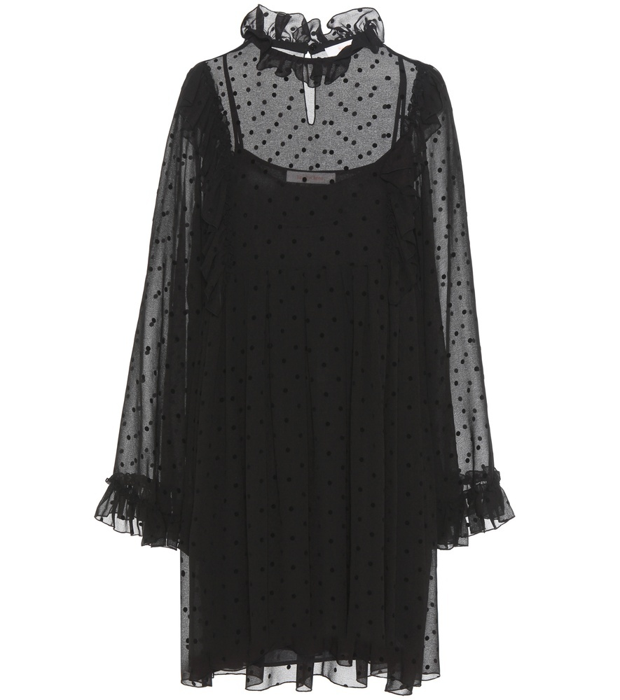 Crêpe Dress - style: smock; fit: loose; neckline: high neck; bust detail: sheer at bust; pattern: polka dot; sleeve style: trumpet; predominant colour: black; occasions: evening; length: just above the knee; fibres: polyester/polyamide - 100%; sleeve length: long sleeve; texture group: crepes; pattern type: fabric; shoulder detail: sheer at shoulder; season: a/w 2016; wardrobe: event