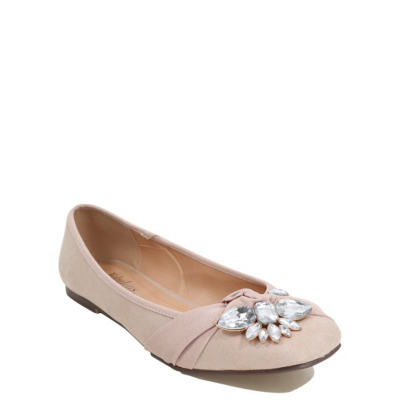 Embellished Ballet Shoes Nude - predominant colour: blush; occasions: casual; material: faux leather; heel height: flat; embellishment: crystals/glass; toe: round toe; style: ballerinas / pumps; finish: plain; pattern: plain; wardrobe: basic; season: a/w 2016