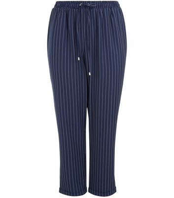 Curves Navy Pinstripe Joggers - length: standard; style: tracksuit pants; pattern: pinstripe; waist: mid/regular rise; predominant colour: navy; occasions: casual; fibres: polyester/polyamide - stretch; fit: slim leg; pattern type: fabric; texture group: woven light midweight; pattern size: standard (bottom); season: a/w 2016; wardrobe: highlight