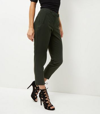 Khaki Cropped Slim Leg Trousers - pattern: plain; style: peg leg; waist: high rise; predominant colour: dark green; occasions: casual, creative work; length: ankle length; fibres: polyester/polyamide - 100%; fit: slim leg; pattern type: fabric; texture group: other - light to midweight; season: a/w 2016