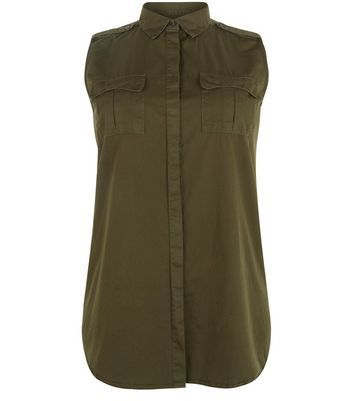 Curves Khaki Sleeveless Military Shirt - neckline: shirt collar/peter pan/zip with opening; pattern: plain; sleeve style: sleeveless; length: below the bottom; style: shirt; predominant colour: khaki; occasions: casual, creative work; fibres: cotton - mix; fit: loose; sleeve length: sleeveless; pattern type: fabric; texture group: other - light to midweight; wardrobe: basic; season: a/w 2016