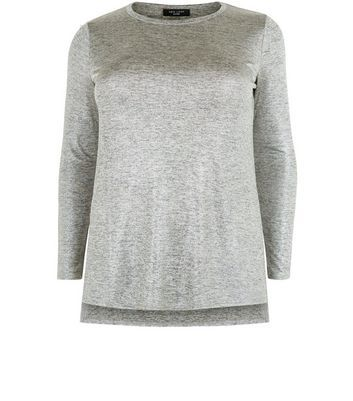 Curves Gold Metallic Long Sleeve Top - pattern: plain; style: t-shirt; predominant colour: light grey; occasions: casual; length: standard; fibres: polyester/polyamide - 100%; fit: body skimming; neckline: crew; sleeve length: 3/4 length; sleeve style: standard; pattern type: fabric; texture group: jersey - stretchy/drapey; wardrobe: basic; season: a/w 2016