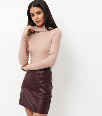 Stone Turtle Neck Ribbed Top - pattern: plain; neckline: roll neck; predominant colour: blush; occasions: casual; length: standard; style: top; fibres: polyester/polyamide - mix; fit: body skimming; sleeve length: long sleeve; sleeve style: standard; texture group: jersey - clingy; pattern type: fabric; wardrobe: basic; season: a/w 2016