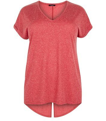 Curves Red Split Back T Shirt - neckline: v-neck; pattern: plain; style: t-shirt; predominant colour: pink; occasions: casual; length: standard; fibres: polyester/polyamide - mix; fit: body skimming; sleeve length: short sleeve; sleeve style: standard; pattern type: fabric; texture group: jersey - stretchy/drapey; season: a/w 2016; wardrobe: highlight