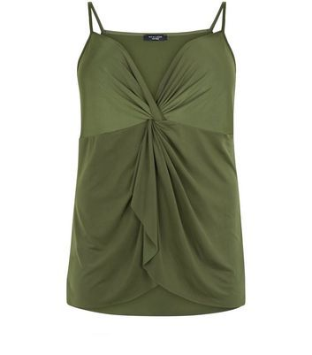 Curves Khaki Knot Front Cami - neckline: low v-neck; sleeve style: spaghetti straps; pattern: plain; style: camisole; predominant colour: khaki; occasions: casual; length: standard; fibres: viscose/rayon - stretch; fit: body skimming; sleeve length: sleeveless; pattern type: fabric; texture group: jersey - stretchy/drapey; wardrobe: basic; season: a/w 2016