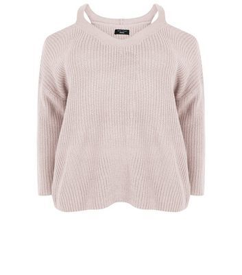 Curves Pink Cold Shoulder Jumper - neckline: v-neck; pattern: plain; style: standard; predominant colour: blush; occasions: casual; length: standard; fibres: acrylic - 100%; fit: slim fit; shoulder detail: cut out shoulder; sleeve length: long sleeve; sleeve style: standard; texture group: knits/crochet; pattern type: knitted - big stitch; season: a/w 2016