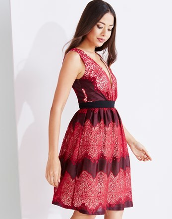 Lace Prom Dress - neckline: v-neck; pattern: horizontal stripes; sleeve style: sleeveless; style: prom dress; predominant colour: true red; secondary colour: aubergine; occasions: evening; length: on the knee; fit: fitted at waist & bust; fibres: polyester/polyamide - 100%; sleeve length: sleeveless; texture group: lace; pattern type: fabric; multicoloured: multicoloured; season: a/w 2016; wardrobe: event