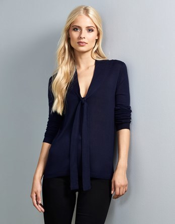 Bow Neck Jumper - neckline: low v-neck; pattern: plain; length: below the bottom; style: standard; predominant colour: black; occasions: casual, work, creative work; fibres: viscose/rayon - 100%; fit: standard fit; sleeve length: half sleeve; sleeve style: standard; texture group: knits/crochet; pattern type: knitted - fine stitch; wardrobe: basic; season: a/w 2016