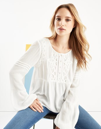 Lace Blouse - neckline: round neck; sleeve style: bell sleeve; pattern: plain; style: blouse; predominant colour: white; occasions: casual, creative work; length: standard; fibres: viscose/rayon - 100%; fit: loose; sleeve length: long sleeve; texture group: lace; bust detail: bulky details at bust; pattern type: fabric; embellishment: lace; season: a/w 2016; wardrobe: highlight