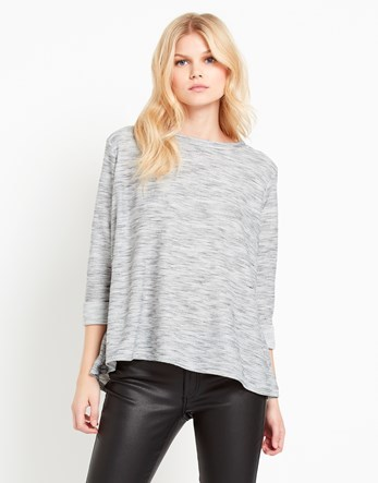 Soft Marl Split Back Top - pattern: plain; predominant colour: light grey; occasions: casual; length: standard; style: top; fibres: viscose/rayon - stretch; fit: body skimming; neckline: crew; sleeve length: 3/4 length; sleeve style: standard; pattern type: fabric; texture group: jersey - stretchy/drapey; wardrobe: basic; season: a/w 2016